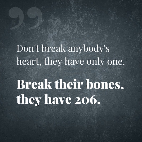 Don't break anybody's heart, they have only one. Break their bones, they have 206